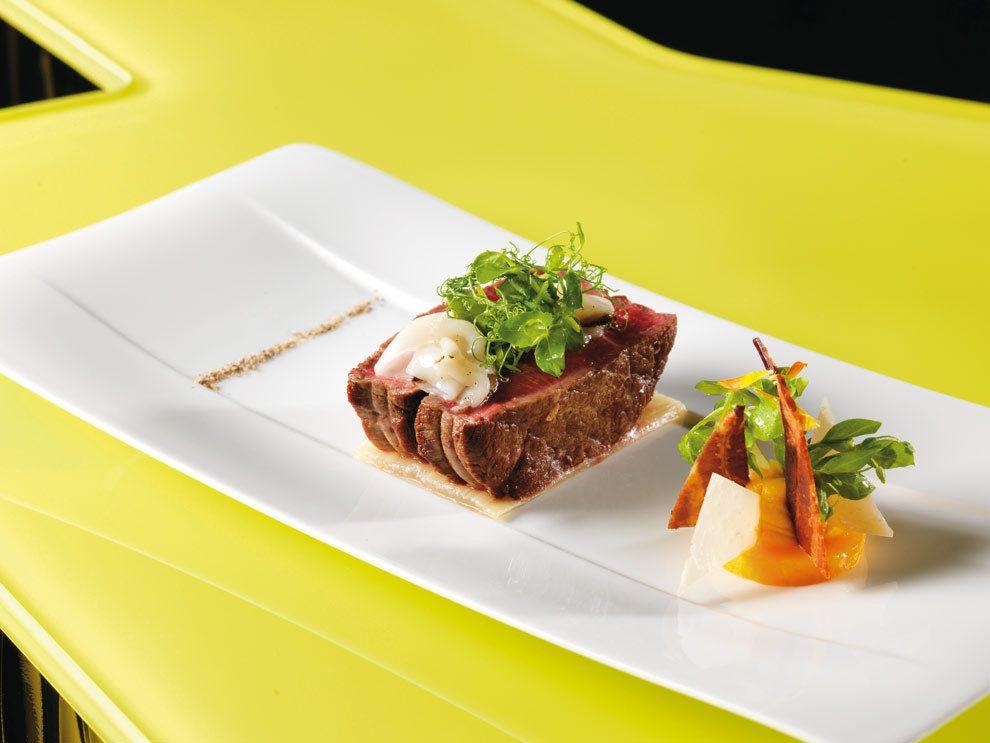 A g gastronomie recettes b uf de salers c tes de blettes butternut lard de colonnata - Recette plat gastronomique ...