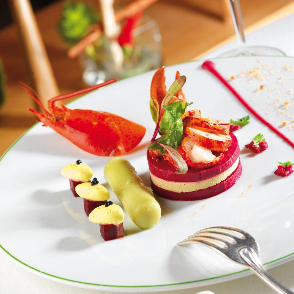 A g gastronomie recettes poissons cremeux de betterave rouge pommes vertes homard - Recette plat gastronomique ...