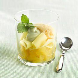 Compote de pommes, râpures de Comté et glace au lard fumé