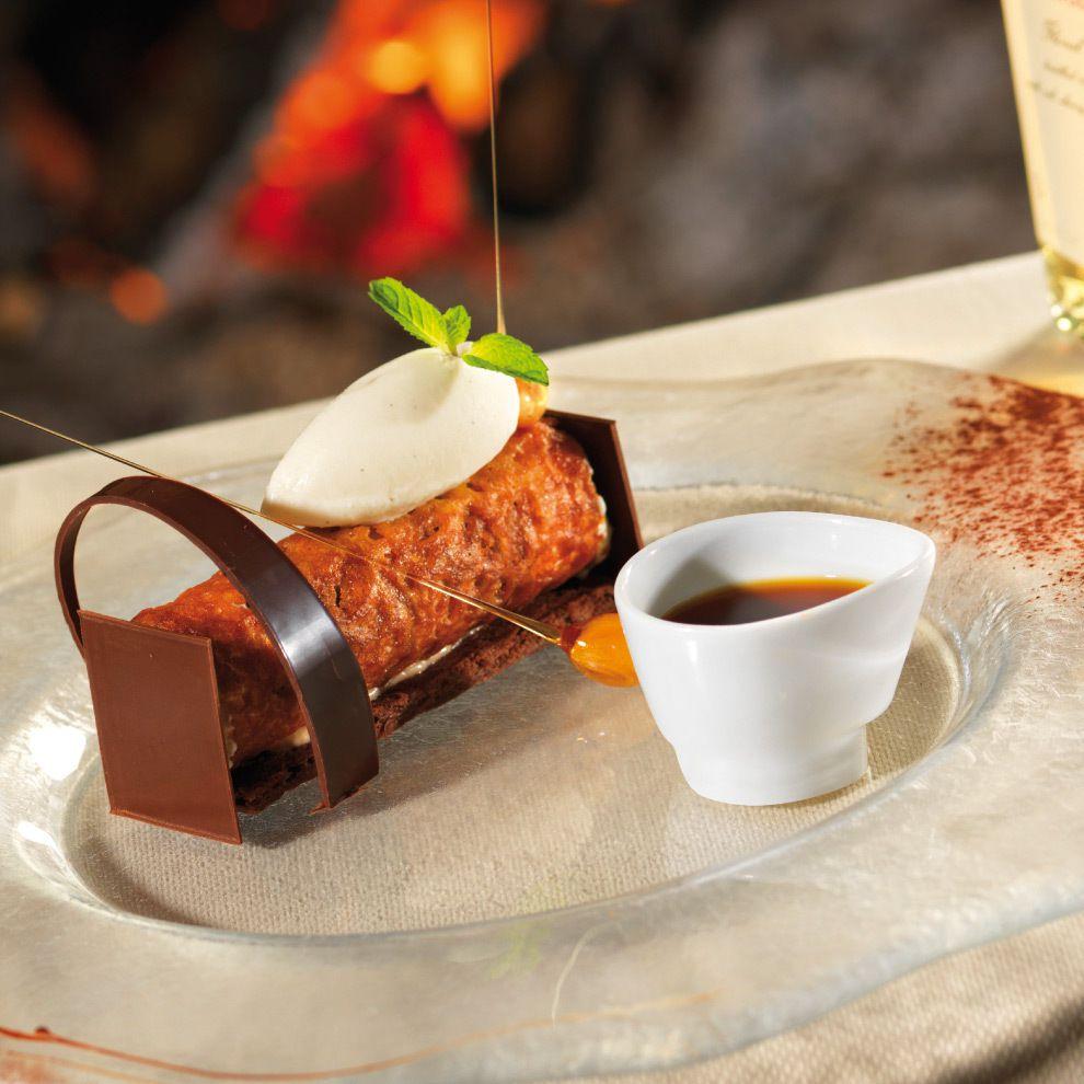 Tube marron vanille crumble de chocolat noir sorbet au - Decoration assiette dessert ...