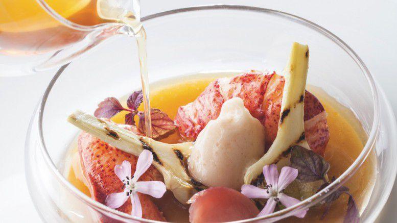 Homard, artichauts, pêche de vigne & verveine