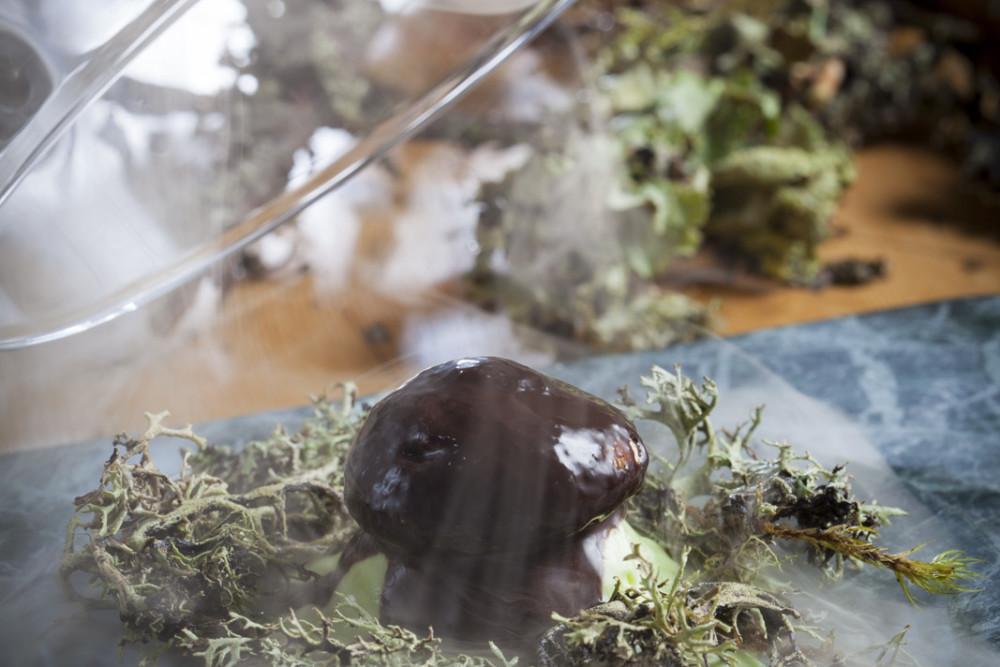 Cèpe de Manigod sous le brouillard de la Croix Fry, sabayon à la Chartreuse