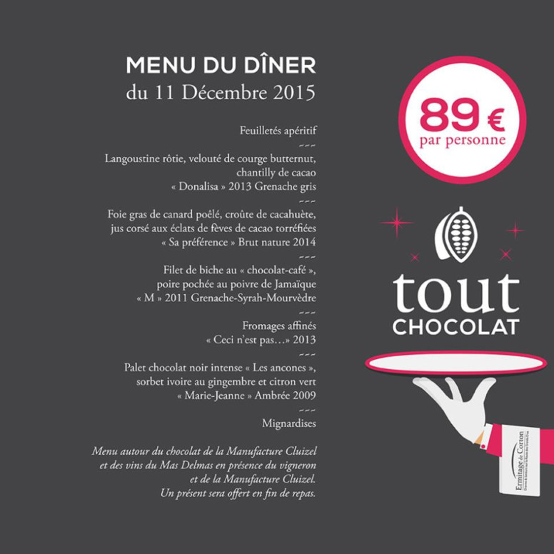 ermitage corton menu chocolat 2015