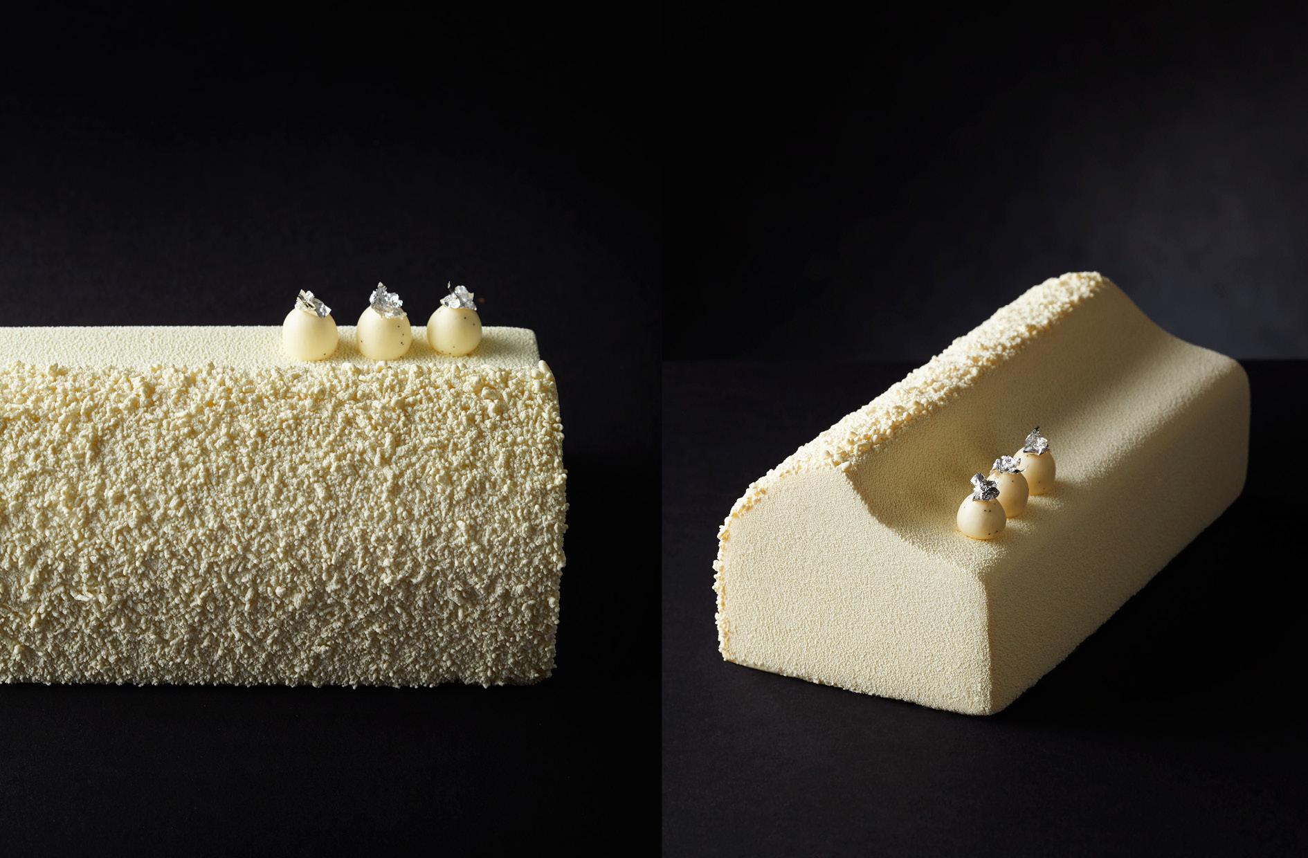 Cyril Lignac et Benoît Couvrand vous proposent la bûche Pure, un gâteau au parfum exotique pour fêter Noël_© Pâtisserie Cyril Lignac