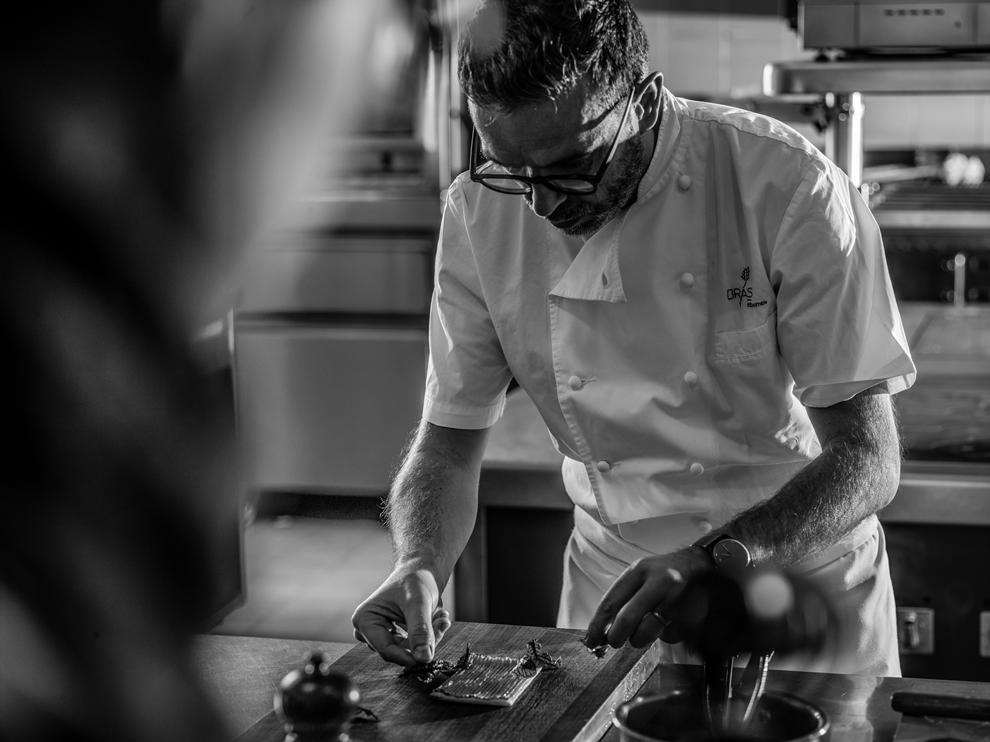Sébastien Bras, chef du restaurant triplement étoilé Le Suquet à Laguiole sacré