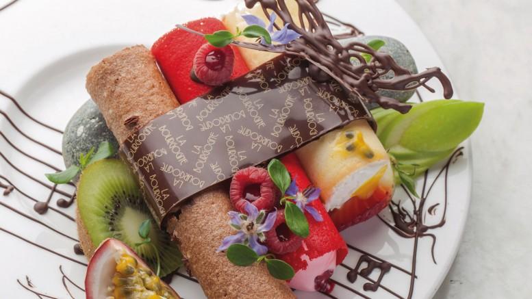 Flûte de pan déclinée au chocolat framboise & mangueFlûte de pan déclinée au chocolat framboise & mangue