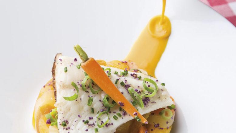 Turbot sauvage rôti carottes nouvelles, réduction carottes, oranges et gingembre