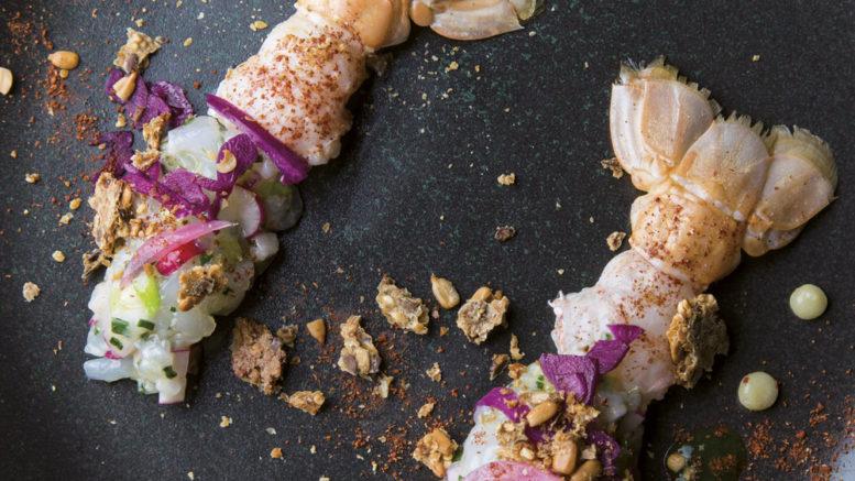 Grosses langoustines juste saisies et en tartare
