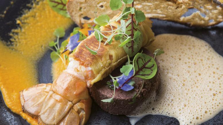 Langoustine croustillante gâteau de foie de volaille