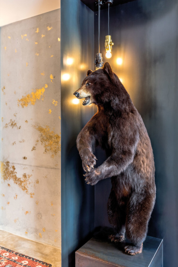 Sur le pas de la porte de L'Ours, l'on est accueilli par un bel ours brun que Jacky Ribault a chiné, quelques mois avant l'ouverture du restaurant.
